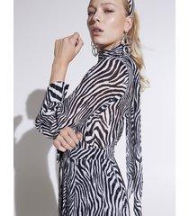 motivi tunica zebrata misto seta donna bianco