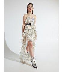 motivi vestito maxi dress a pois xmas edition donna bianco