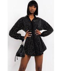 akira beat you to it long sleeve studded mini dress