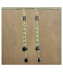 gold accented multi-gemstone dangle earrings, 'dark forest rain' (thailand)