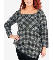 ny collection plus size plaid asymmetrical ponte-knit top
