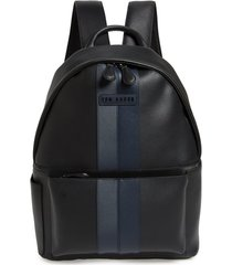 men's ted baker london stripe faux leather backpack - black