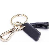 royce new york mini tassel key chain - black