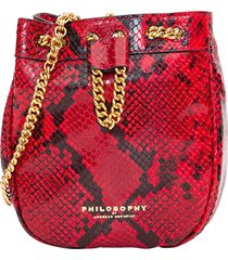 philosophy di lorenzo serafini bucket bag in python embossed leather