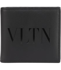valentino garavani leather wallet with vltn logo
