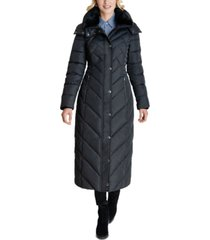 london fog faux-fur-trim hooded maxi puffer coat