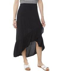 falda midi vuelos negro mujer corona