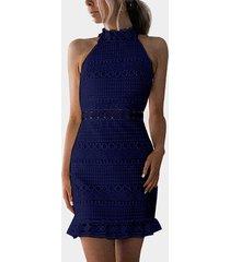 vestido sin mangas de cuello alto con diseño recortado de encaje azul marino