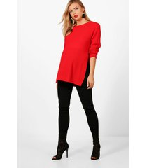 maternity side split moss stitch sweater, red