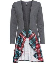 cardigan in jersey con inserto a quadri (grigio) - rainbow