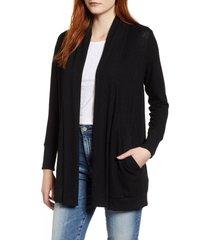 women's gibson cozy ribbed cardigan, size xx-large - black