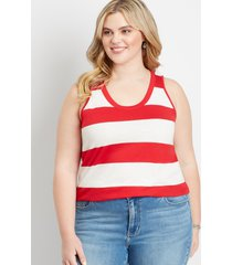 maurices plus size womens 24/7 red striped tank top