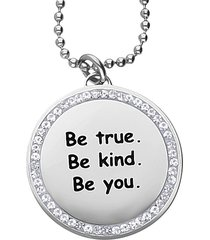"collana con ciondolo in acciaio rodiato e strass ""be true. be kind. be you."" per donna"