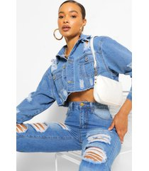 extreme rip cropped jean jacket, mid blue