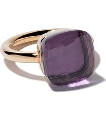 pomellato 18kt rose & white gold maxi nudo amethyst ring - violet