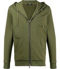 balmain textured logo zipped hoodie - green