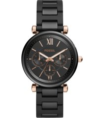 fossil women's carlie black ceramic bracelet watch 38mm