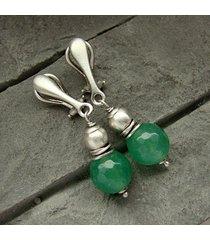 zielony jadeit - srebrne klipsy