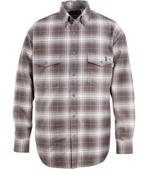 wolverine men's fr plaid long sleeve twill shirt charcoal, size xl