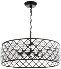 """jonathan y gabrielle 23"""" crystal, metal led pendant oil-rubbed"""