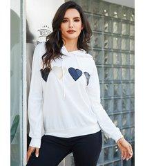 yoins cordón blanco con capucha diseño corazón sudadera geométrica