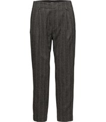 sim herringb trousers pantalon met rechte pijpen grijs filippa k