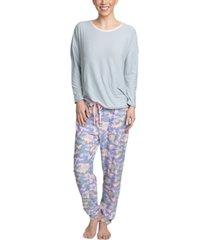 muk luks cool girl solid top & printed jogger pants pajama set