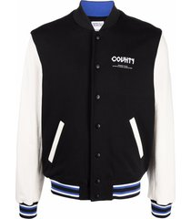 marcelo burlon county of milan logo-embroidered varsity jacket - black