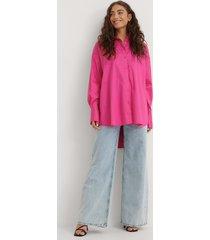 na-kd trend recycled oversize skjorta med ficka - pink