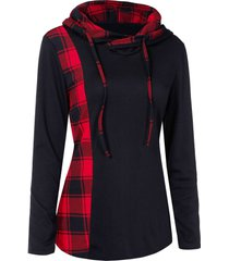 plaid panel drawstring pullover hoodie
