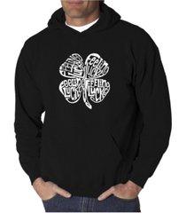 la pop art men's word art hooded sweatshirt - feeling lucky