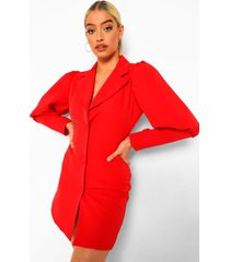 getailleerde blazer jurk met laag decolleté, red
