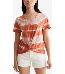 lucky brand cotton twisted tie-dyed t-shirt