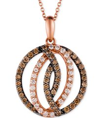 le vian chocolatier diamond circle pendant in 14k strawberry rose gold (1 ct. t.w.)