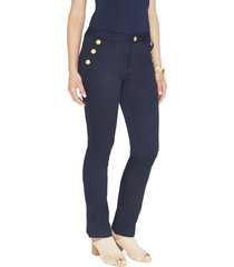 pantalon formal pierna recta liso azul lorenzo di pontti