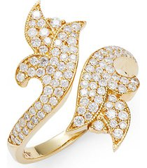 french tulip 18k yellow gold & diamond bypass ring