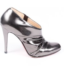 christian louboutin metallic leather ruched booties silver/metallic sz: 5.5