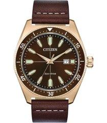 citizen eco-drive men's brycen brown leather strap watch 43mm