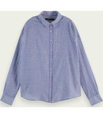 scotch & soda gestreepte blouse met lange mouwen en knoopsluiting