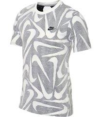 camiseta nike nsw hand drawn aop - gris