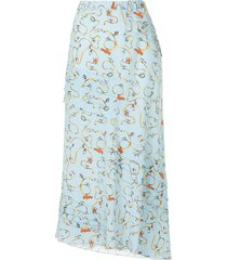 marni printed loose skirt - blue