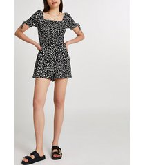 river island womens black shirred spot print playsuit