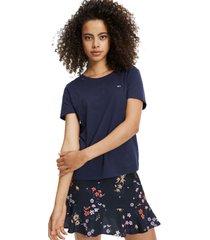 camiseta de algodón orgánico y corte slim negro tommy jeans