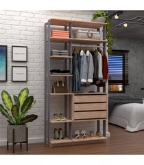 closet 3 gavetas 1 cabideiro logan marrom/preto - pnr móveis