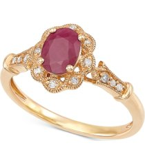 certified ruby (1 ct. t.w.) & diamond accent ring in 14k gold
