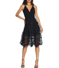 women's dress the population darleen v-neck embroidered mesh cocktail dress