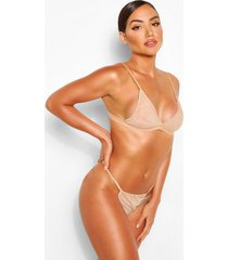 mesh bralette and string set, nude