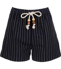 navy pinstripe high waisted shorts