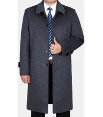 uomo trench coat invernale di lana a metà lunghezza a bavero