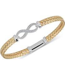 diamond infinity braided mesh bangle bracelet (1/5 ct. t.w.) in sterling silver & 14k gold-plate
